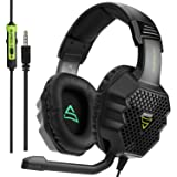 SUPSOO G811 Gaming Headset Over-Ear Stereo Bass Gaming Headphone with Noise Isolation Microphone for Xbox one PS4 PC Laptop Mac iPad iPod - Black (Color: G811)