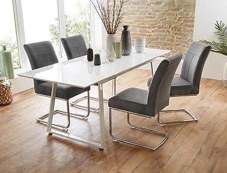 Tischgruppe Esstisch Armin weiß Hochglanz + 4 Stuhle Fabio grau Essgruppe Sitzgruppe Esszimmer Wohnzimmer Kuche