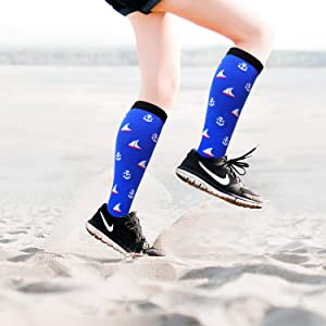 1/3/7 Pairs Compression Socks for Women&Men (20-30mmHg)- Best for Running, Travel,Cycling,Pregnant,Nurse, Edema (Color: Multicoloured3-6, Tamaño: Small/Medium(US SIZE))