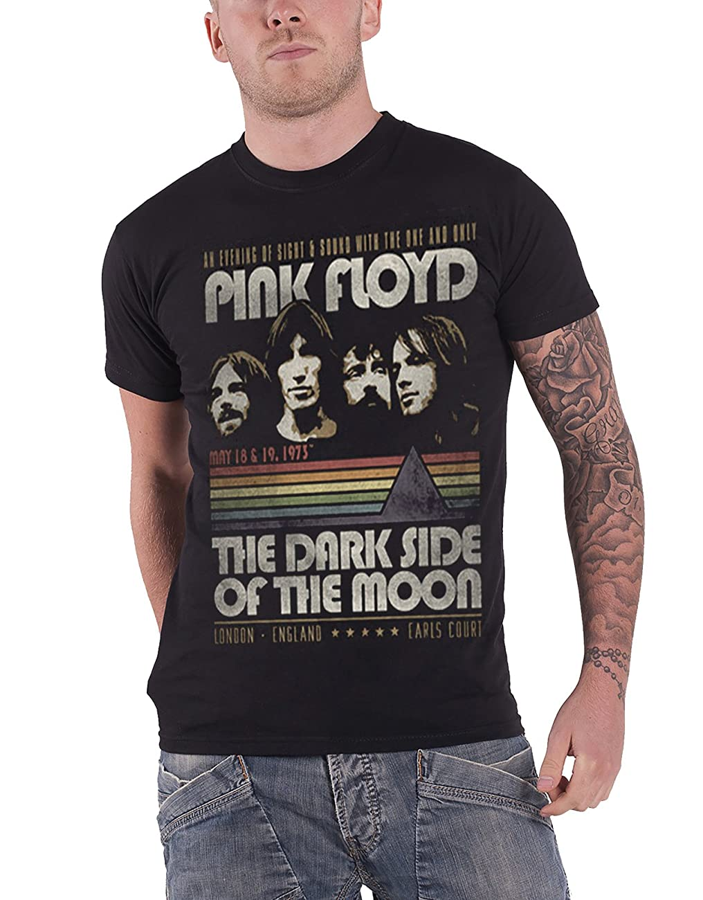 Pink Floyd Official Mens T shirt - Dark Side of the Moon Vintage Stripes 0