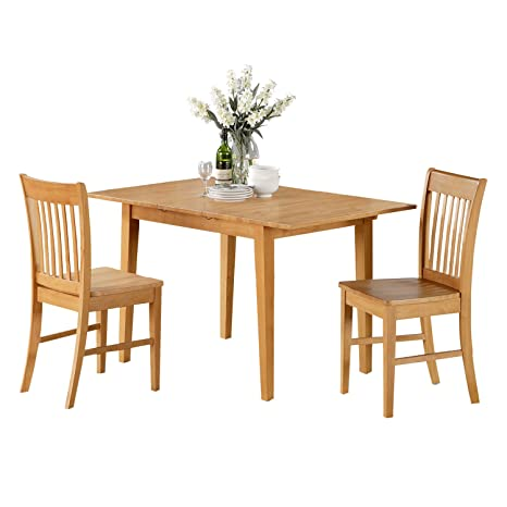 East West Furniture NOFK3-OAK-W 3-Piece Kitchen Nook Dining Table Set