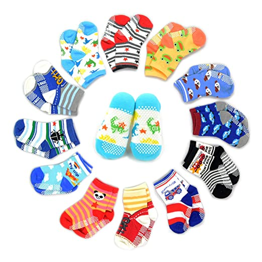 Marrywindix 12 Pairs Anti-slip Assorted Kids Socks Size Ages 2-3 Years Animal Print Boys Girls 2t 3t Toddler