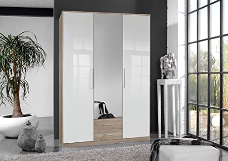 Germanica BREMEN 3 Door 1 mirror Bedroom Wardrobe With Drawer Storge in WHITE & OAK Colour