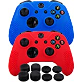 MXRC Silicone rubber cover skin case anti-slip STUDDED Customize for Xbox One/S/X controller x 2(red & blue) + FPS PRO extra height thumb grips x 8 (Color: red blue, Tamaño: Xbox One Dots pack)
