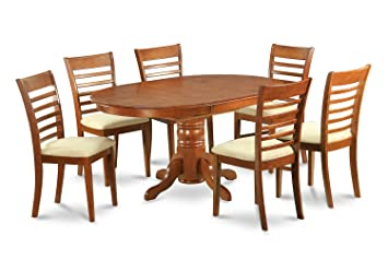 East West Furniture AVML7-SBR-W 7-Piece Dining Table Set