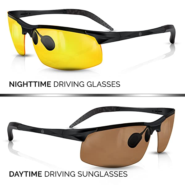 34d31007e88 BLUPOND KNIGHT VISOR Set of 2 - Driving Glasses Anti-Glare HD Vision -  Yellow Lens Night Driving ...