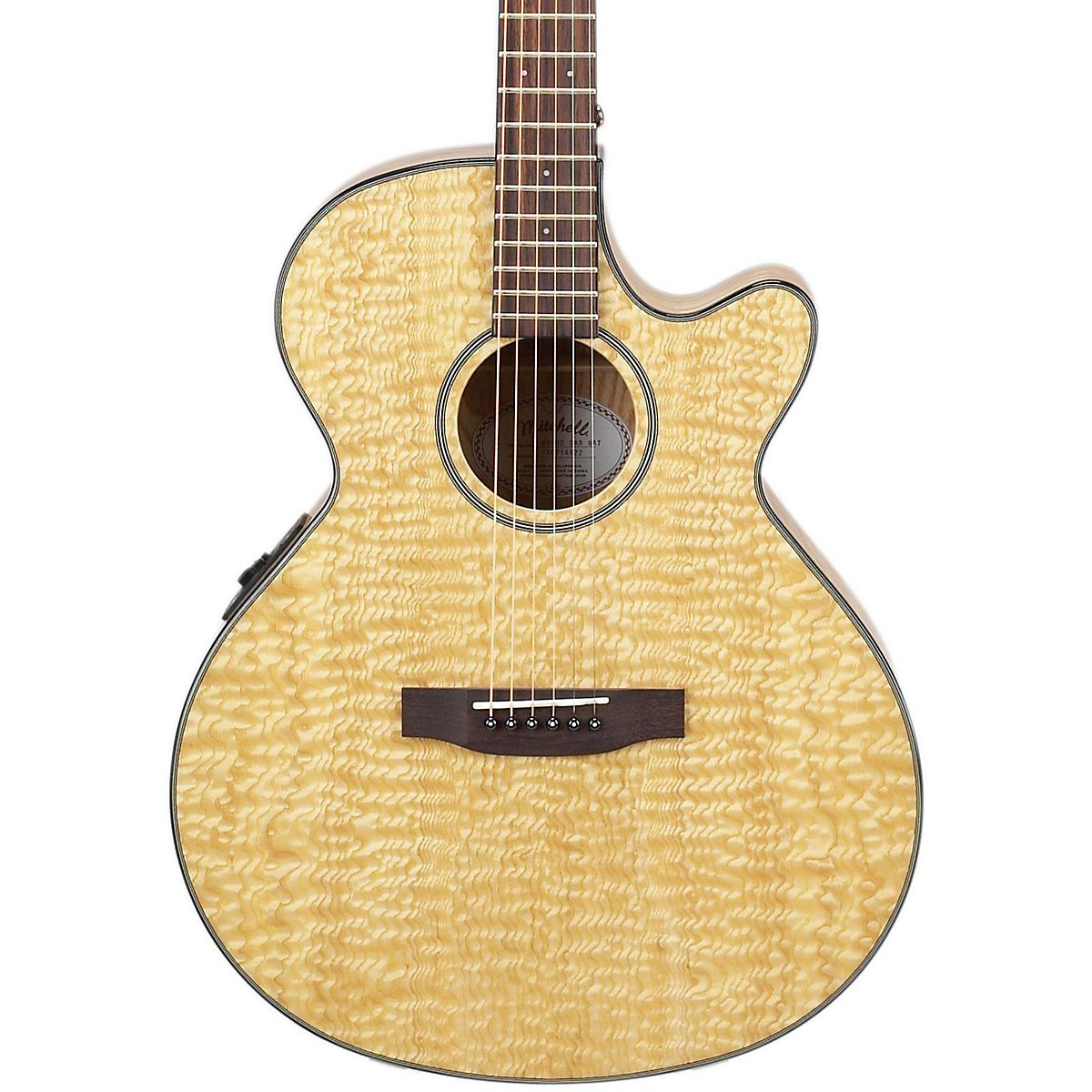 Mitchell MX400 Xotix Series Acoustic-Electric Guitar Natural Quilted Ash Burl electric guitar neck thru 7pcs real abalone binding red burst thin yellow center natural gutiar back ash wood grain body side