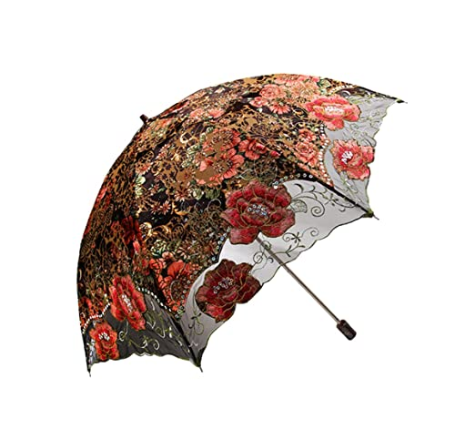 Vintage Style Parasols and Umbrellas  Lace Embroidered Flocking flower Pattern Two Folding Anti-UV Sun Umbrella Superior Uv Protection Parasols                               $43.99 AT vintagedancer.com