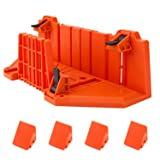 Miter Saw Box, EnPoint 12 inch Plastic Woodworking Clamping Mitre Box, Double Sided Teeth 0/22.5/45 Degree Three Angle Slot Types Hand Saw Box Tool for Craftsman Carpenter Woodworker (Tamaño: Clamping Mitre Box)