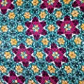 African Print Fabric Cotton Print Mosaic Teal 44'' wide By The Yard Turquoise Purple Orange White