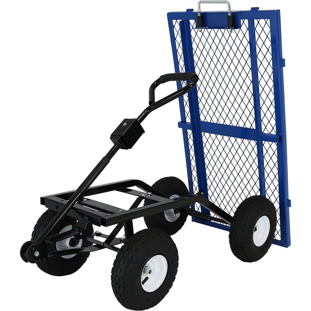 Sunnydaze Heavy-Duty Steel Dump Utility Garden Cart with Removable Sides and 10-Inch Pneumatic Tires, 660 Pound Capacity, Blue