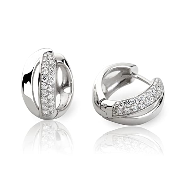 Eye Candy Women's Hoop Earrings 925 Sterling Silver Rhodium-Plated With 18 White Cubic Zirconia Stones 15.4 mm ECJ-CR0022
