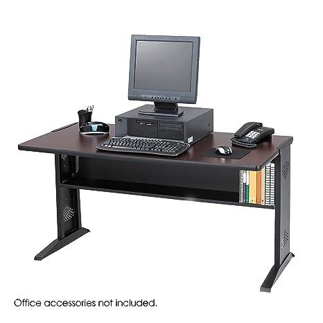 Safco 1931 Computer Desk W/ Reversible Top, 48w x 28d x 30h, Mahogany/Medium Oak/Black