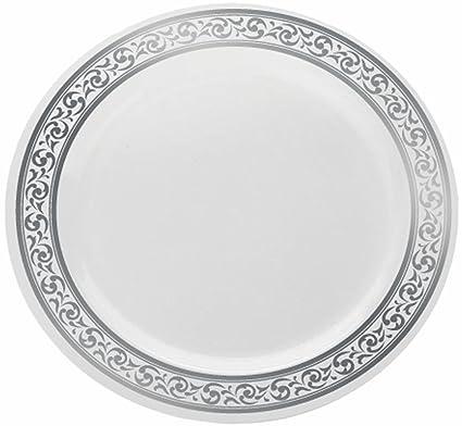 decorline vaisselle de luxe usage unique couleur blanc avec bord motif argent. Black Bedroom Furniture Sets. Home Design Ideas
