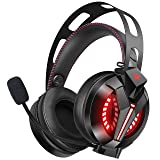 Combatwing Updated Gaming Headset for PS4, Xbox One, PC, Nintendo Switch, Game Boy Advance [2019] [7.1 Surround Sound] [Noise-Cancelling Mic] Gaming Headphones with Memory Earmuffs & Red LED Light (Color: Black)