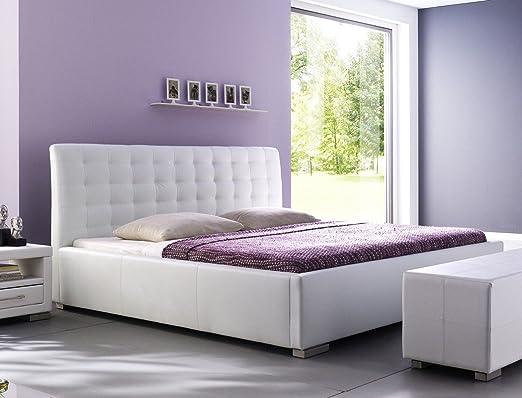 Polsterbett Bett Ishan weiß Kunstleder Doppelbett Ehebett Bett Bettgestell Kunstleder, Größe:200 x 200