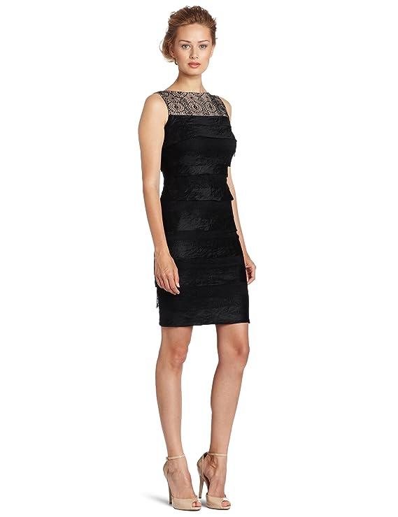 London Times Women's Sleeveless Shutter-Lace Dress