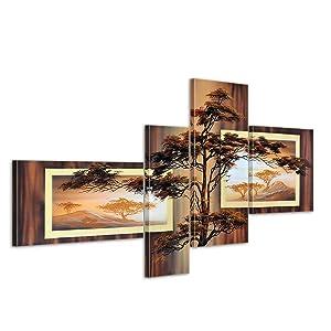 Bilderdepot24 African Savannah M2 handgemaltes Leinwandbild 140x80cm 4 teilig 509   Kundenbewertung und Beschreibung