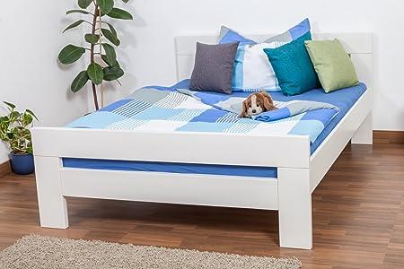 """Lit simple """"Easy Sleep®"""" K6 140 x 200 cm bois d'hêtre massif laqué en blanc"""
