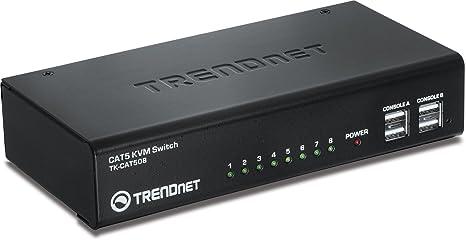 TRENDnet TK-CAT508 Switch KVM avec 8 ports CAT5 Noir