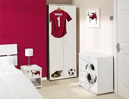 Burgundy Football Design Childrens/Kids White Bedroom Furniture Set