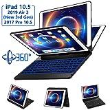 iPad Pro 10.5 Keyboard Case Fit iPad Pro 10.5 inch 2017, iPad Air 3rd Gen 10.5 inch 2019-360 Rotate Wireless 7 Colors Backlit Auto Wake Sleep Ultra-Thin iPad 10.5 Case with Keyboard-Black (Color: 1-black, Tamaño: 360 ROTATE IPAD 10.5 KEYBOARD CASE)
