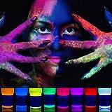 neon nights 8 x UV Body Paint Black Light Make-Up 5.5 fl oz Bodypainting Neon Blacklight Bodypaint Face Paints (Color: Yellow)