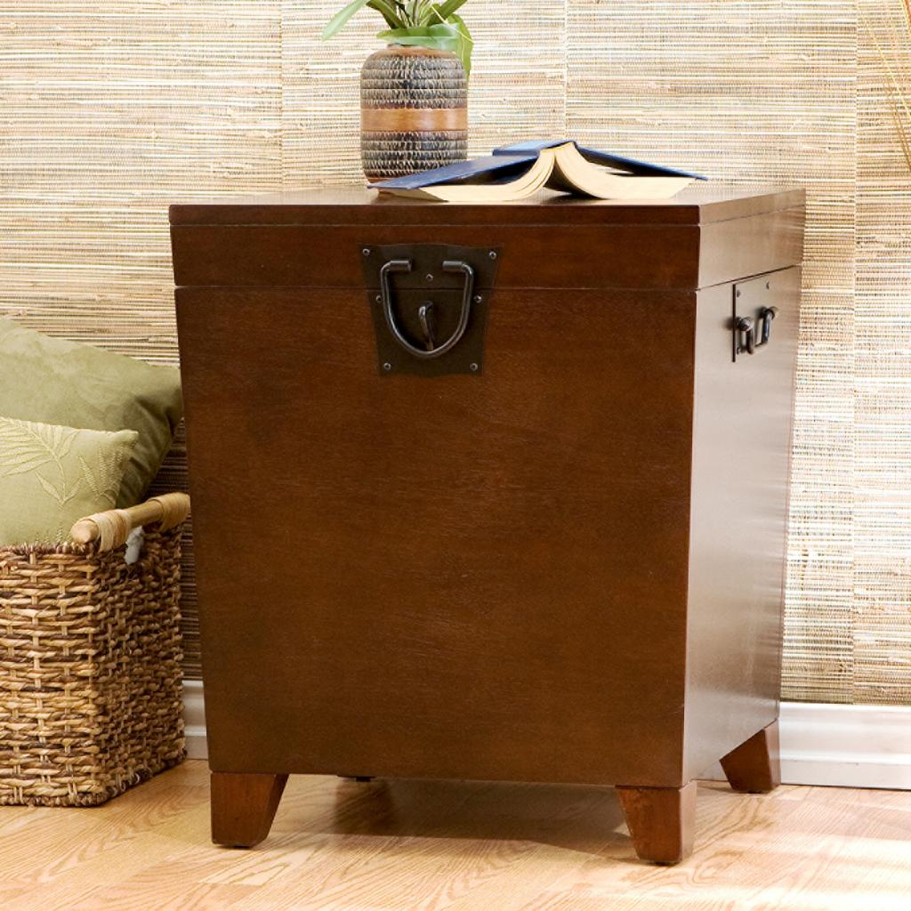 Sei espresso pyramid trunk end table end tables living room - Contemporary side tables with storage ...