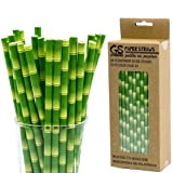 CTIGERS Bamboo Print Biodegradable Drinking Paper Straws for Party Box of 100 (Color: Bamboo)