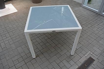 Gartenmöbel WEIß 5er-SET 90x90cm Lechuza Tisch (Glasplatte) & 4 Stuhle NEU