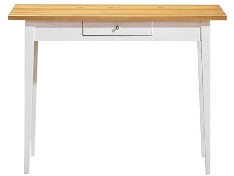 Schreibtisch SCALA mit ein Schublade in weiß und natur fur Arbeitszimmer, von Loft24