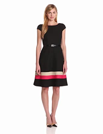 Anne Klein Women's Color Banded Hem Swing Dress, Black, 2