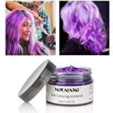 MOFAJANG Hair Color Wax, Instant Hair Wax, Temporary Hairstyle Cream 4.23 oz,Hair Pomades, Natural Hairstyle Wax for Men and Women (Purple) (Color: Purple)