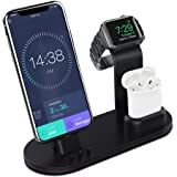 Apple Watch Stand Aluminum Apple Watch Charging Stand AirPods Stand Charging Docks Holder for Apple Watch Series 3/2/1/AirPods/iPhone X/8/8Plus/7/7 Plus/6S/6S Plus/iPad-Black (Color: Space Gray)