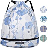 Drawstring Backpack String Bag Sackpack Cinch Water Resistant Nylon for Gym Shopping Sport Yoga by WANDF (Purple White Flower 6034) (Color: E-purple White Flower 6034, Tamaño: One Size)