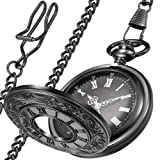LYMFHCH Classic Smooth Vintage Gold Quartz Pocket Watch, Roman Numerals Scale Mens Womens Watch with Chain (G-Black)