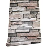 HaokHome 620632 Peel & Stick Stacked Stone Wallpaper Faded Rusty/Tan/Black Self Adhesive Contact Paper Wall Furniture Sticker