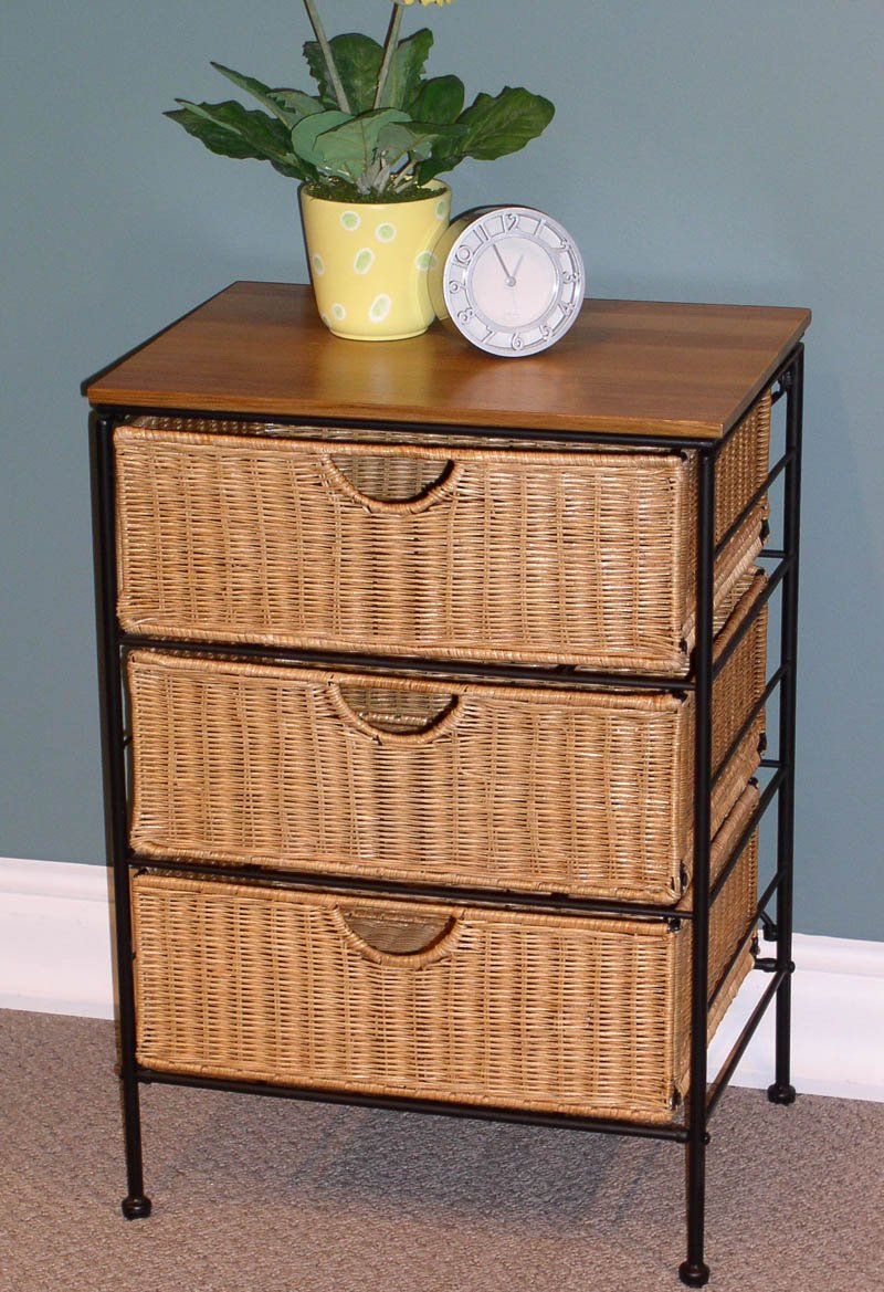 4D Concepts 263069 3 Drawer Wicker Stand,