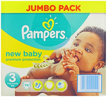 New baby taille 3 4 7 kg jumbo pack de 74 couches pampers qwertffghjh - Couches pampers new baby taille 3 ...