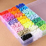 408 Sets Plastic Snap Buttons No-Sew T5 Snaps Fastener with Organizer Storage Containers for Bibs Diapers DIY Crafts Curtains Sewing (Color: 408 Sets Snaps, Tamaño: 1/2 Inch)