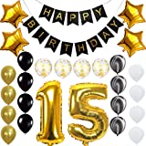 Quinceanera Happy 15th Birthday Banner Balloons Set for 15 Years Old Birthday Party Decoration Supplies Gold Black (Color: 15th, Tamaño: 25)