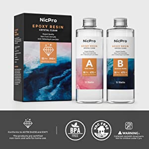 Nicpro 2 Part Art Epoxy Resin 32 Oz. Starter Clear Coating and Casting Resin for Resin Molds Pigment Jewelry Making Kit - Easy Mix 1:1 Ratio (Color: 32 oz.)