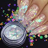 1 box Aurora AB Color Nail Sequins Paillette Mermaid Nail Flakes Glitter Manicure Star Heart Round Slider Nail Art Decor TRAB12