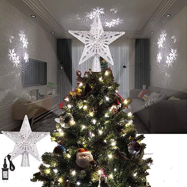 ALLOMN Christmas Lighting, Christmas Tree Topper Projector Light 3D Glitter Lighted Star Tree Topper with Adjustable LED Snowstorm/Snowman/Stripe RGB Projector Lights 3m Cable, US Plug (Snowstorm) (Color: Snowstorm)