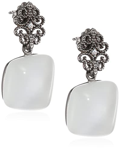 Augusta Misis Women's Earrings 925 Sterling Silver / White Zirconia-Quadratschliff Cat OR08900B 3 CM