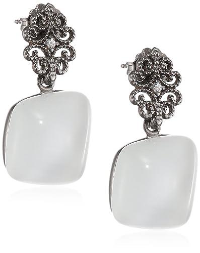 Augusta Misis Women's Earrings 925 Sterling Silver / White Zirconia-Quadratschliff Cat OR08900B 3 CM