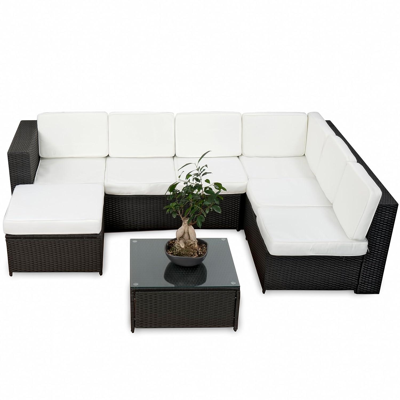 20tlg. Deluxe Lounge Garnitur Set Gruppe Polyrattan Sitzgruppe Gartenmöbel Loungemöbel  – handgeflochten – schwarz von XINRO® günstig online kaufen