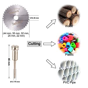 30Pcs Cutting Wheel Set for Rotary Tool - GOXAWEE 1/8 Shank Diamond Cutting Wheel, Mini HSS Saw Blades, Resin Cut Off Disc Combo Cutter Kit with Mandrels for Wood Glass Plastic Stone Metal (Color: Multicolored, Tamaño: 1/8 Mandrel)