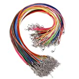 KeyZone 150 Pcs 18 Inches 1.5mm Waxed Necklace Cord with Lobster Clasp for Jewelry Making,Mixed Color