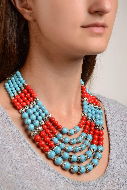 Halskette Damen handmade koralle Schmuck Damen Collier Türkis Schmuck stilvoll günstig bestellen